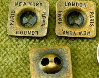 DESIGNER Square button Antique Brass France, NY, Rome European   E10