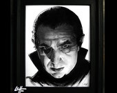 Dracula - Original Drawing - Bela Lugosi Frankenstein Vampire Halloween Classic Monster Universal Pop Art Gothic Zombie Lowbrow Horror