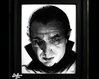 Dracula - Original Drawing - Bela Lugosi Frankenstein Vampire Halloween Classic Monster Universal Pop Art Gothic Zombie Lowbrow Horror