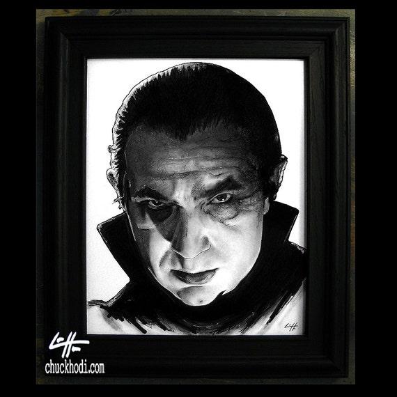 Dracula Original Drawing Bela Lugosi Frankenstein Vampire
