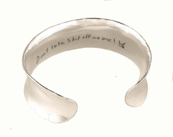 2-Sided Actual Handwriting Sterling Cuff Bracelet by donnaodesigns