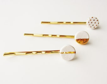 Metallic Gold Bobby Hair Pin Set - Polka Dots - Half Circle - Striped