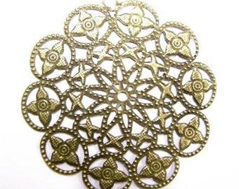 6pc antique bronze filigree metal pendant-4584