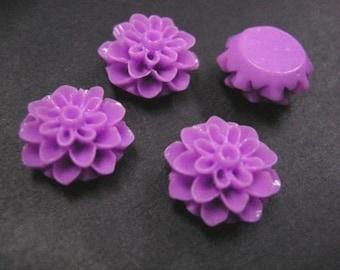6pc Lavender Resin Flower Cabochon-3733
