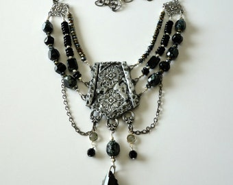 ON SALE Was 95 now 72,Triple Strand Necklace, Boho, Jet Black Beads and Crystals, Gunmetal Chain, Polymer Clay Focal, Beaded Necklace