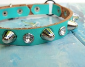 Leather Cat Collar in Aqua Blue with Crystal Rhinestones and Spikes, Blue Cat Collar, Leather Collar, Made in Seattle