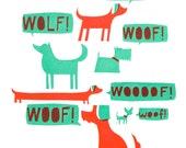 Woofs! Silkscreen print