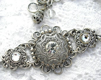 Crystal Clear Glass Button Bracelet - Antiqued Silver