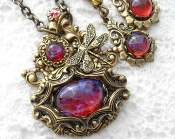 The Dream Weaver - Dragons Breath Mexican Glass Fire Opal Antiqued Brass Necklace and Earring Set
