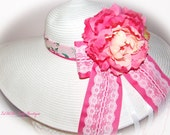 Monogrammed Shabby Chic Floppy Hat Bridal Bride Wedding  Derby Cup Race Custom sewn ribbons with lace and floral hat bands. OOAK NEW ITEM!