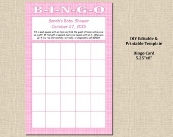 Baby Girl Shower Bingo Game - Plaid Pink - Instant Download - MS Word Printable Editable Digital Template