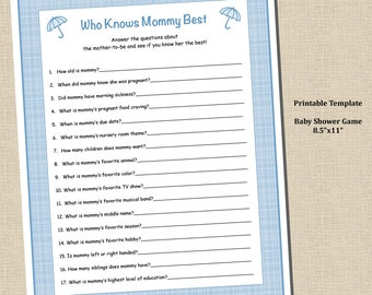Baby Boy Shower Shower Who Knows Mommy Best Game- 8.5x11 - Plaid Blue - Instant Download - Printable Digital Template PDF