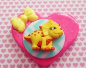 Little Yellow Triceratops - Pink Heart - Dinosaur - Polymer Clay Glitter Heart Brooch or Necklace