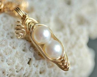 solid 14k gold - pea pod necklace - Pea Pod jewelry - two, three, four peas in a pod necklace - white freshwater pearl - wire wrapped
