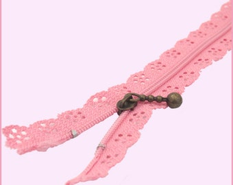 30 cm LACE ZIPPER - 9 colors available - See available stock in description - Cotton Nylon with Metal Zipper Pull