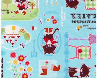HALF YARD - Puss in Boots on Blue - November Books - Push Pin Kokka - der gestiefelte kater - Japanese Fabric
