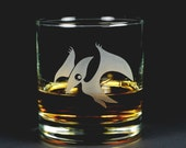 Pterodactyl Lowball Glass - etched dinosaur whiskey glass