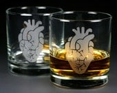 2 Anatomical Hearts - Etched Lowball Glasses - Set of 2