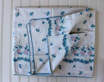 New Vintage Duvet Cover - Cotton Comforter and Blanket Cover - 1940s  - New Twin Full Queen - Pink and Blue Floral - Cottage Chic