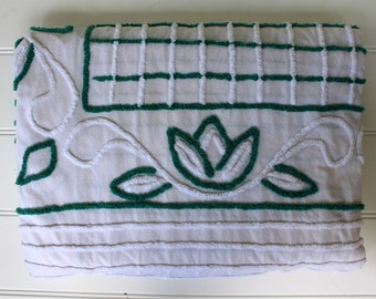 Vintage Chenille Bedspread - Green and White - 1940s Art Deco - Cutter - Vintage Chenille Fabric