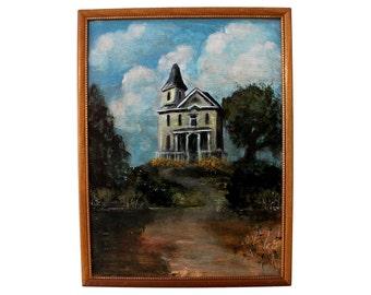 House on a Hill - Original Artwork - Blue Sky Painting