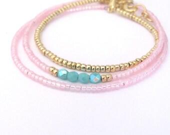 Pink Friendship Bracelet, Friendship Bracelet, seed bead bracelet, beaded bracelet, Dainty bracelet, seed bead, Pink Wedding, Bridesmaid
