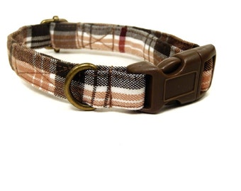 LAST ONES Salmon Plaid - Organic Cotton CAT Collar Breakaway Safety - Salmon Pink Brown Plaid - All Antique Brass Hardware