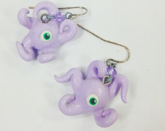 purple monster dangle earrings with swarovski crystals