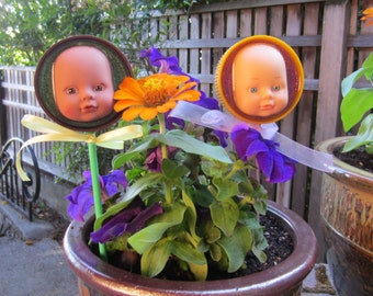 Golden Yellow - upcycled baby doll stick