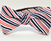 Men's Bow Tie in Coral and Navy Striped Cotton Freestyle Groomsmen Bowtie Self Tie Necktie Coral Wedding