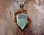 OPAL ARROW - One Of A Kind OOAK - Rough Opal Copper Arrowhead Pendant
