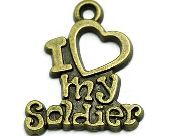 6 Love My Soldier Charms bronze tone metal (S514-cnt)