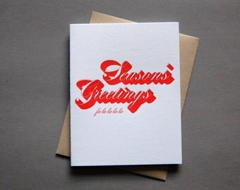Drop Shadow: Season's, single letterpress card