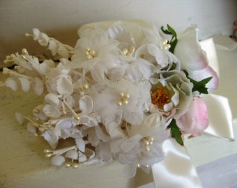 Vintage White Millinery Flower Bouquet with Satin Ribbon