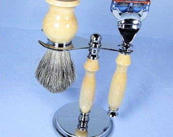 Handcrafted Shaving Set designed for Fusion/M3/Safety Razor with Stand using Maple Wood