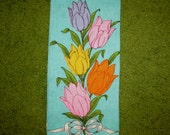 Vintage Teal Linen Kitchen Tea Hand Towel with Brightly Colorful Tulips, 60s, orange, pink, yellow, collectible, kitchen decor