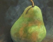 """Pear Study 1 - 5""""x 7"""" Original Still Life Painting on Ampersand Aquabord by Torrie Smiley"""