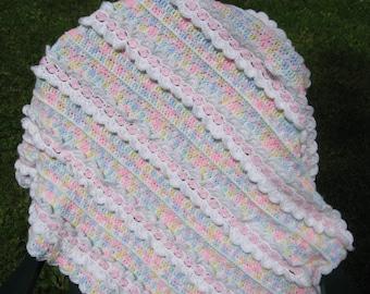 Ruffled Varigated Hand Crocheted Baby Blanket Afghan