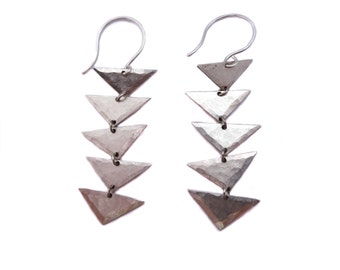Linear Hammered Triangle Dangle Earrings in Silver