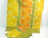 Vintage Standard Pillowcases, mid century mod print, avocado green, orange, yellow abstract print