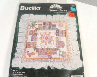 Vintage Embroidery Pillow Kit, Bucilla 80s tropical house print