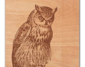 Owl Art Print On Wood