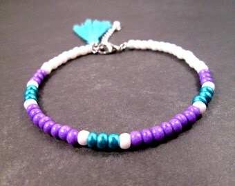 Tassel Bracelet, Silver Charm Bracelet, Purple Blue White Glass Beaded, Bangle Bracelet, FREE Shipping U.S.