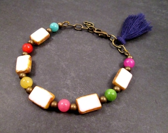 Tassel Bracelet, Colorful and Picasso Glass Beaded Bracelet, Rainbow and Brass Charm Bracelet, FREE Shipping U.S.
