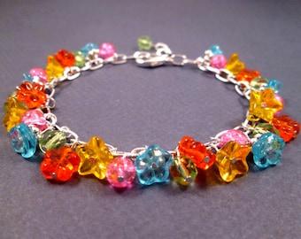 Flower Bracelet, Rainbow Bouquet, Colorful and Silver Charm Bracelet, FREE Shipping U.S.