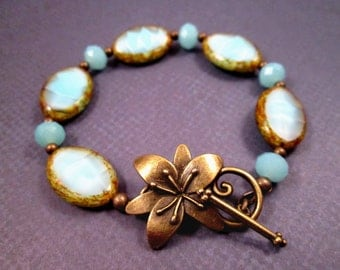 Picasso Beaded Bracelet, Blue and Brass, Magnolia Flower Bracelet, FREE Shipping U.S.