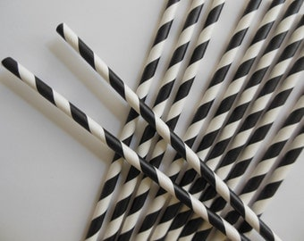Black and White Striped Party Straws - Birthday Parties - Graduation Parties - Weddings - Set of 12