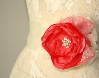 Dress sash, Bright coral and champagne bridal sash, fabric flower wedding dress sash