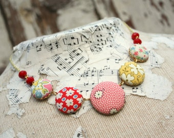 Fabric button necklace, bright necklace, multicolor bead necklace, colorful statement necklace