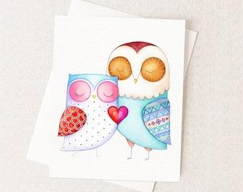 Anniversary Card, Love Card - Love Birds - Watercolor Painting - Blank Inside